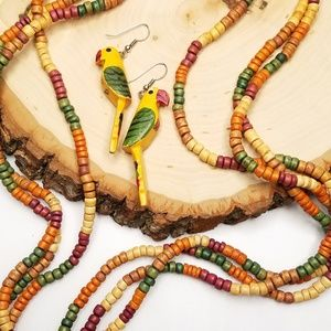 Colorful Tropical Parrot Wood Necklace Earring Set